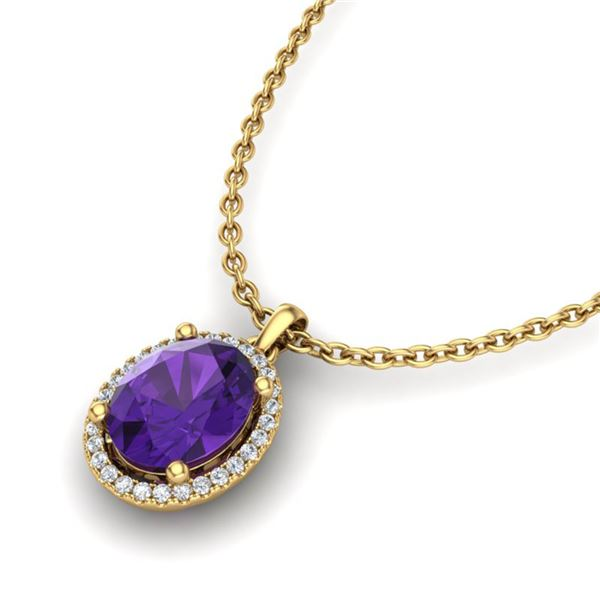 2.50 ctw Amethyst & Micro Pave VS/SI Diamond Necklace 18k Yellow Gold - REF-33X8A