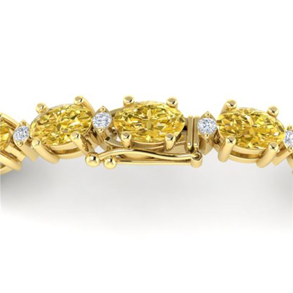 12 ctw Citrine & VS/SI Diamond Eternity Bracelet 10k Yellow Gold - REF-56Y2X