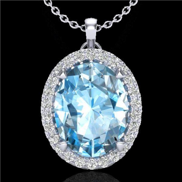2.75 ctw Sky Blue Topaz & Micro VS/SI Diamond Necklace 18k White Gold - REF-36M8G