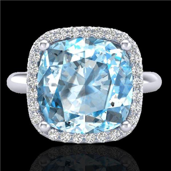 6 ctw Sky Blue Topaz & Micro Pave VS/SI Diamond Ring 18k White Gold - REF-49H3R