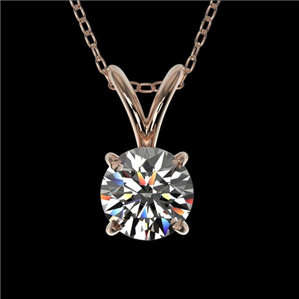 0.51 ctw Certified Quality Diamond Solitaire Necklace 10k Rose Gold - REF-40X8A