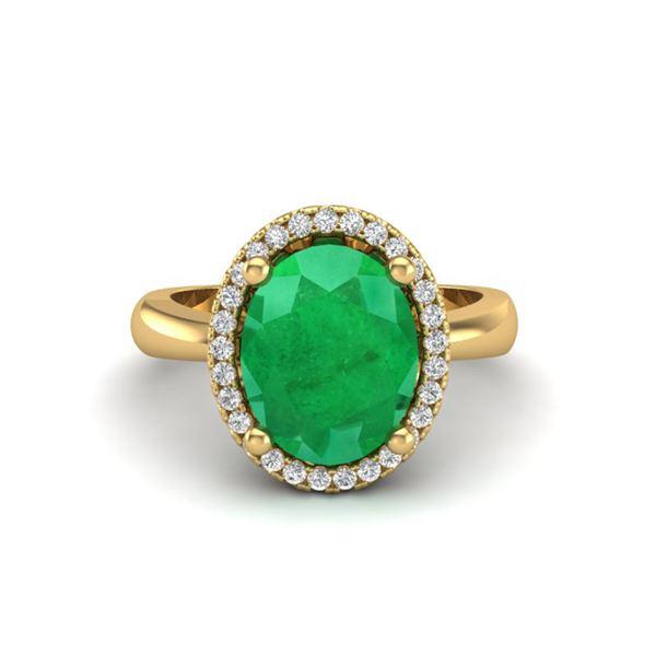 3 ctw Emerald & Micro Pave VS/SI Diamond Ring 18k Yellow Gold - REF-50X3A