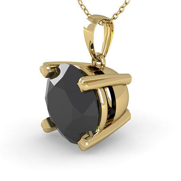 1.50 ctw Black Diamond Designer Necklace 18k Yellow Gold - REF-41G5W