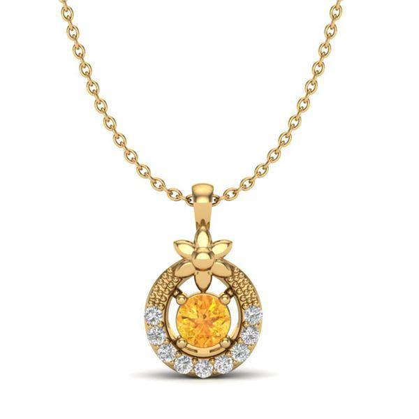 0.20 ctw Citrine & Micro Pave VS/SI Diamond Necklace 18k Yellow Gold - REF-17G2W