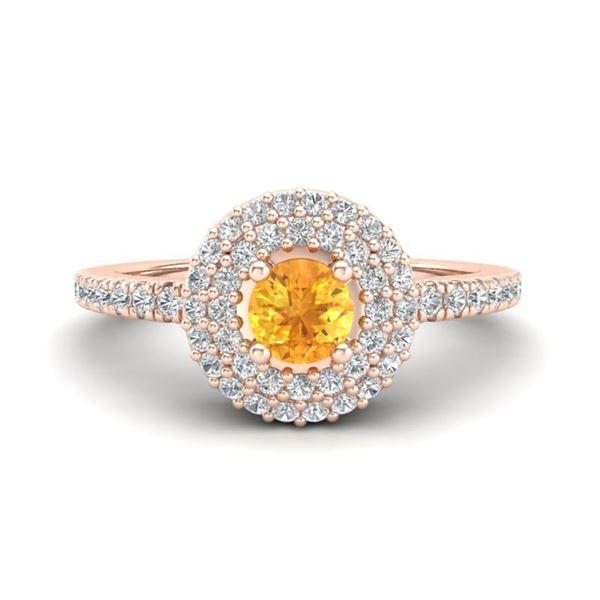 0.70 ctw Citrine & Micro Pave VS/SI Diamond Ring Halo 14k Rose Gold - REF-38X2A