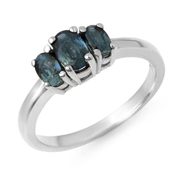 1.0 ctw Blue Sapphire Ring 18k White Gold - REF-30K8Y