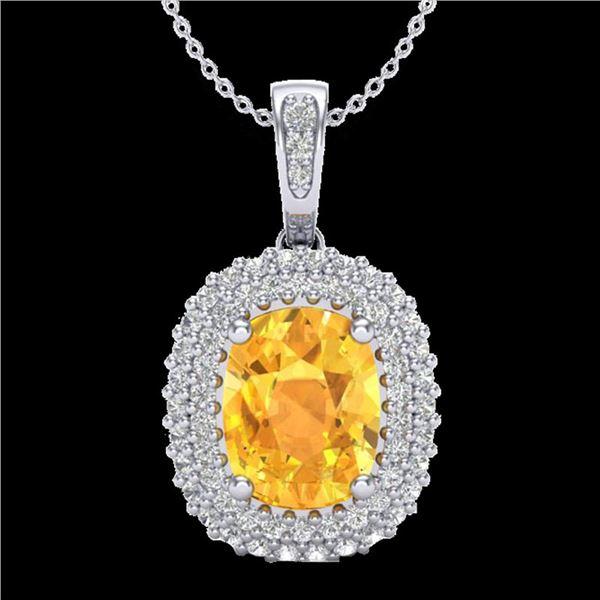 3 ctw Citrine & Micro Pave VS/SI Diamond Necklace 14k White Gold - REF-50G8W