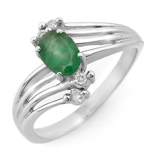 0.65 ctw Emerald & Diamond Ring 18k White Gold - REF-28K9Y
