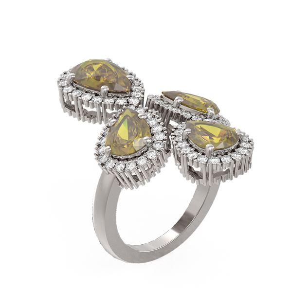 6.26 ctw Canary Citrine & Diamond Ring 18K White Gold - REF-187Y5X