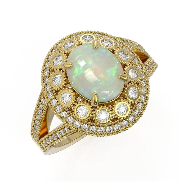 3.93 ctw Certified Opal & Diamond Victorian Ring 14K Yellow Gold - REF-149X3A