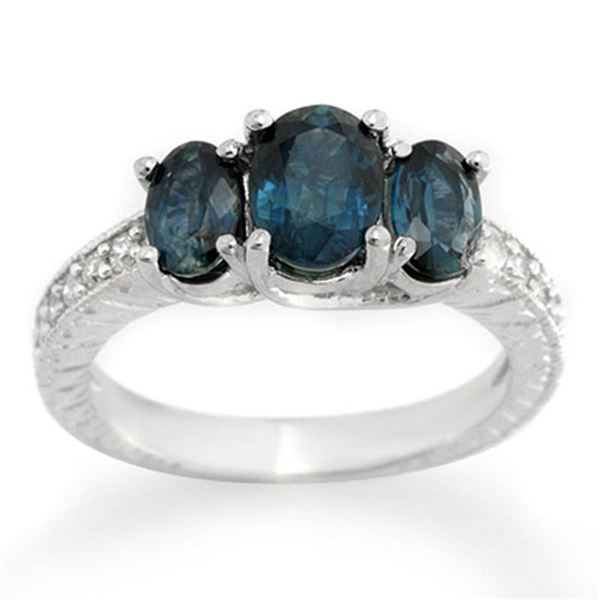 3.25 ctw Blue Sapphire & Diamond Ring 14k White Gold - REF-43W8H
