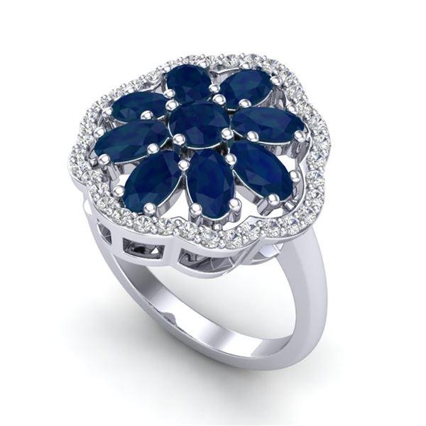 4 ctw Sapphire & VS/SI Diamond Cluster Designer Ring 10k White Gold - REF-49M3G