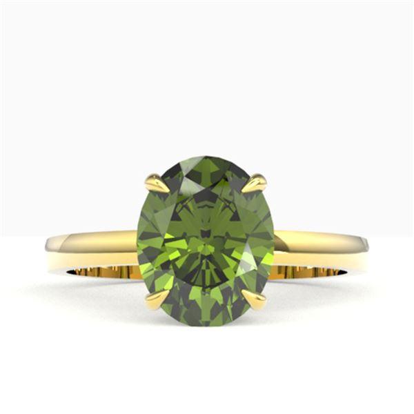 3 ctw Green Tourmaline Designer Ring 18k Yellow Gold - REF-42A8N