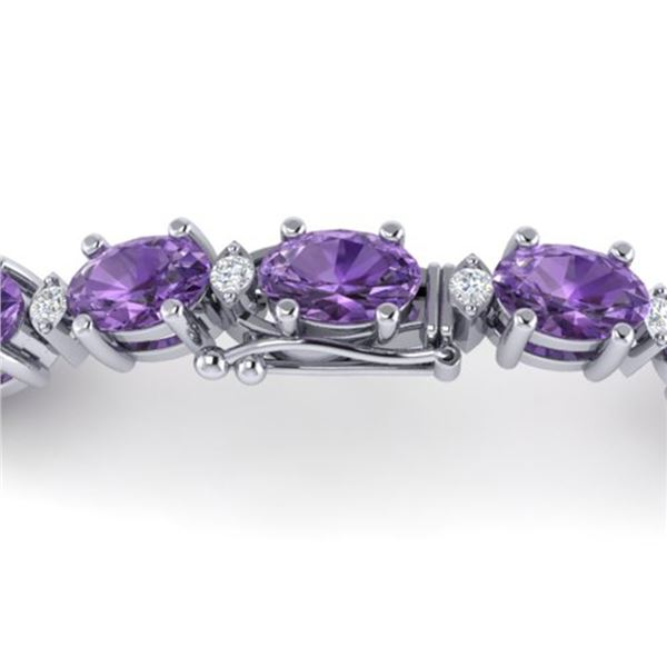 12 ctw Amethyst & VS/SI Diamond Certified Eternity Bracelet 10k White Gold - REF-56G2W