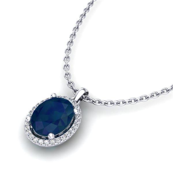 3 ctw Sapphire & Micro Pave VS/SI Diamond Necklace Halo 18k White Gold - REF-45H9R