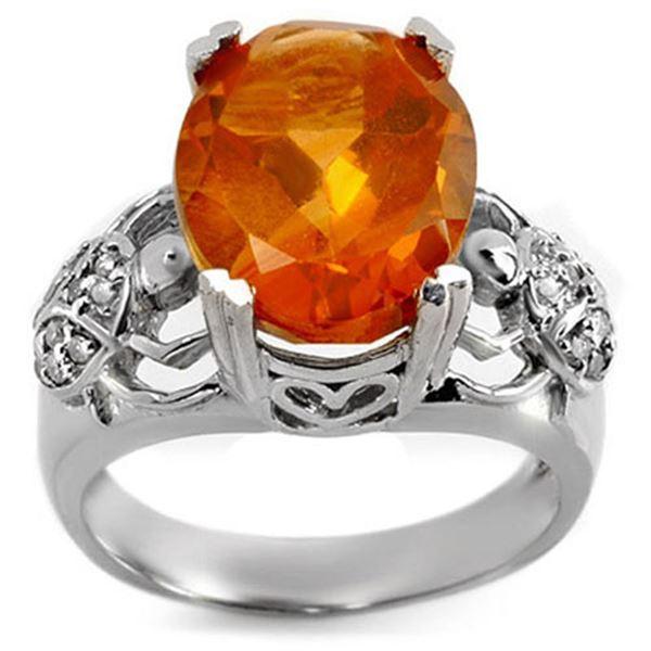 6.20 ctw Citrine & Diamond Ring 10k White Gold - REF-40F9M