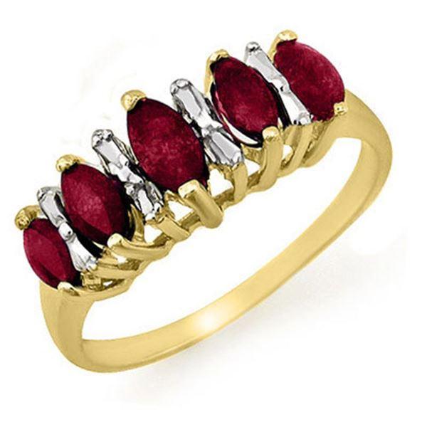 0.88 ctw Ruby Ring 10k Yellow Gold - REF-12R8K