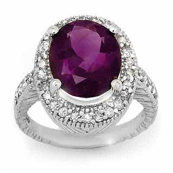 5.50 ctw Amethyst & Diamond Ring 14k White Gold - REF-76W2H