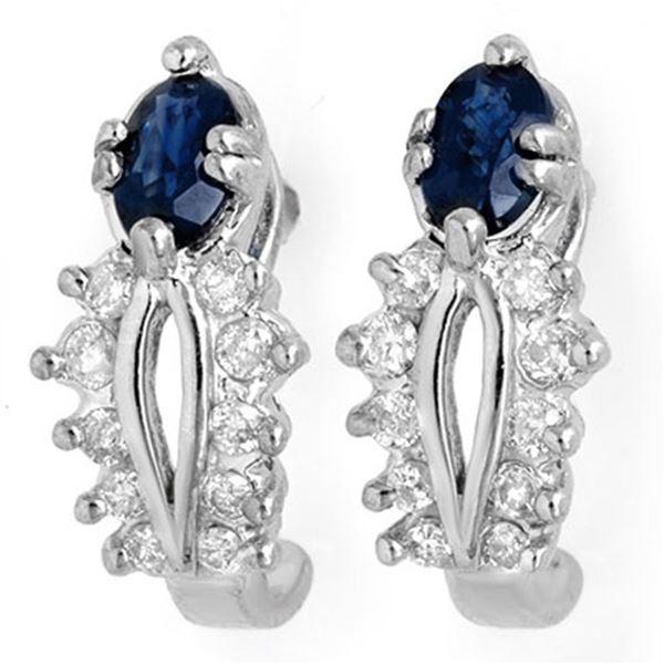 0.90 ctw Blue Sapphire & Diamond Earrings 14k White Gold - REF-31N6F