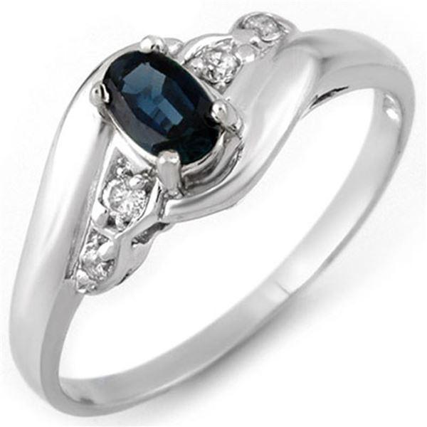 0.42 ctw Blue Sapphire & Diamond Ring 18k White Gold - REF-20K2Y