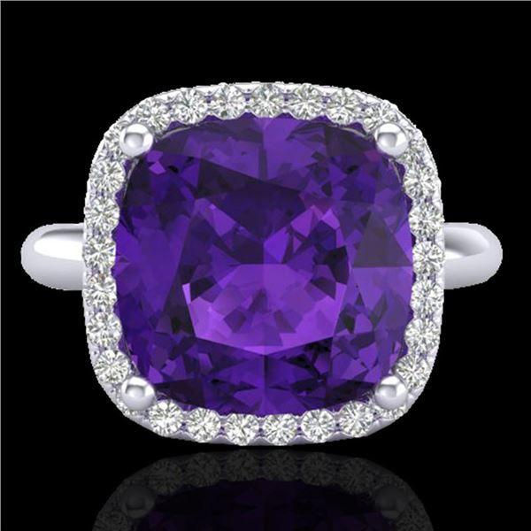 6 ctw Amethyst & Micro Pave Halo VS/SI Diamond Ring 18k White Gold - REF-44F2M