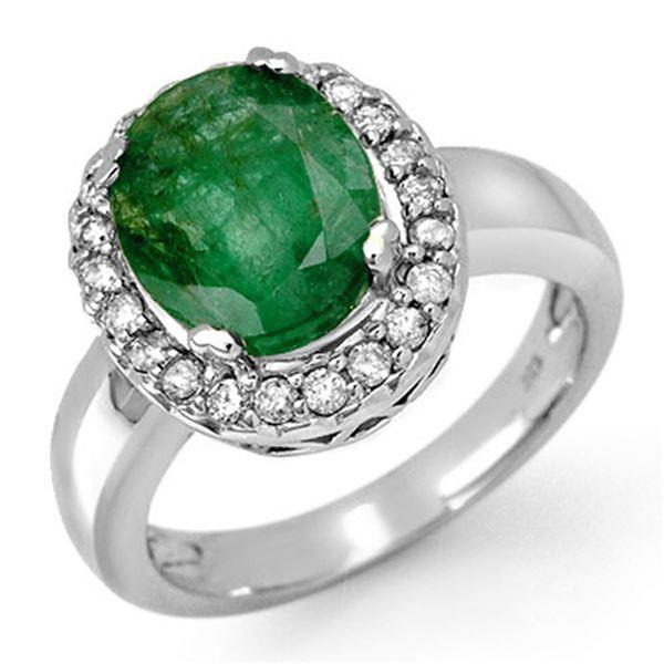4.40 ctw Emerald & Diamond Ring 10k White Gold - REF-42H3R