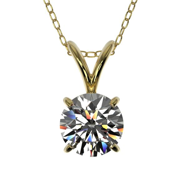0.72 ctw Certified Quality Diamond Solitaire Necklace 10k Yellow Gold - REF-61N8F