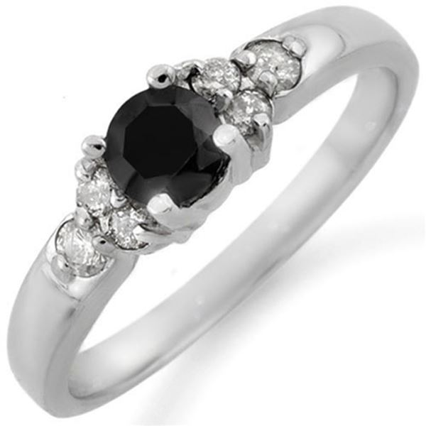 0.75 ctw VS Certified Black & White Diamond Ring 10k White Gold - REF-25W3H