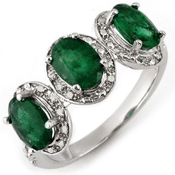 2.58 ctw Emerald & Diamond Ring 10k White Gold - REF-25M9G