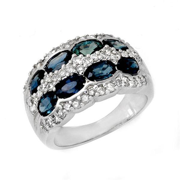 3.25 ctw Blue Sapphire & Diamond Ring 14k White Gold - REF-105G5W