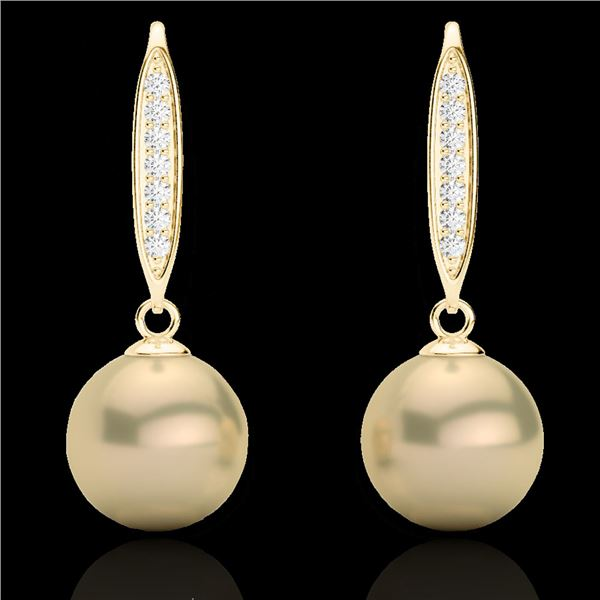 0.18 ctw Micro Pave VS/SI Diamond with Pearl Earrings 18k Yellow Gold - REF-25A9N