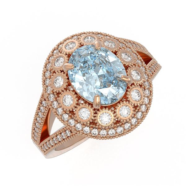 3.85 ctw Certified Aquamarine & Diamond Victorian Ring 14K Rose Gold - REF-165G3W