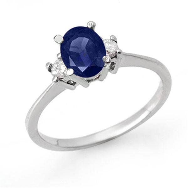 1.04 ctw Blue Sapphire & Diamond Ring 18k White Gold - REF-31W4H