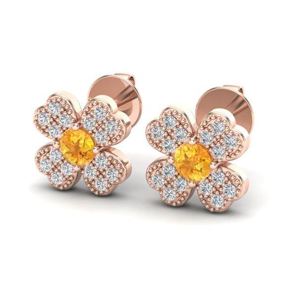0.54 ctw Citrine & Micro Pave VS/SI Diamond Earrings 14k Rose Gold - REF-20G2W