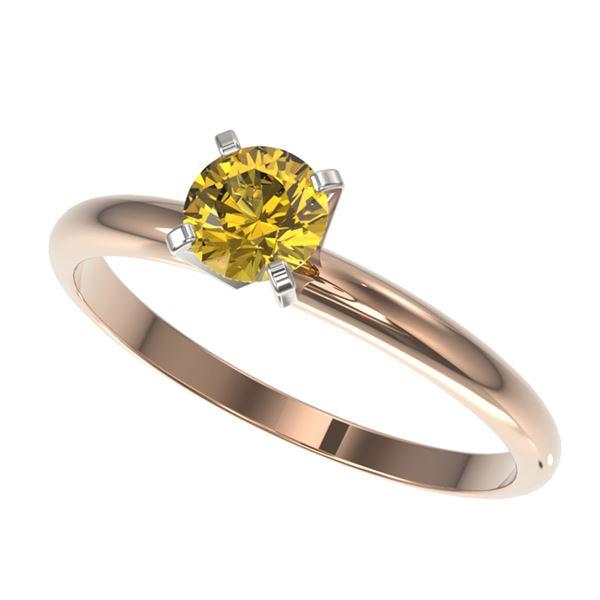 0.55 ctw Certified Intense Yellow Diamond Engagment Ring 10k Rose Gold - REF-47G9W