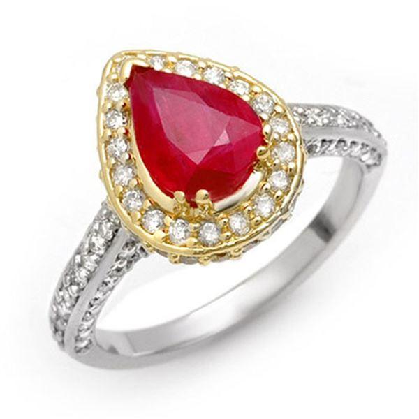 3.10 ctw Ruby & Diamond Ring 2-Tone 14k 2-Tone Gold - REF-89G5W