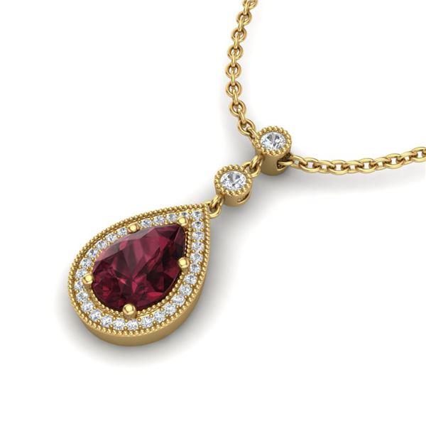 2.25 ctw Garnet & Micro VS/SI Diamond Necklace Designer 18k Yellow Gold - REF-38X2A