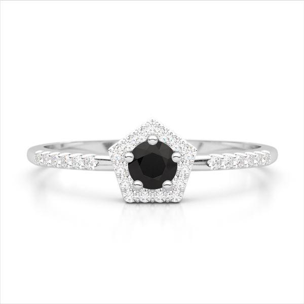 0.45 ctw Micro Black & VS/SI DiamondS Halo Ring 18k White Gold - REF-25M9G