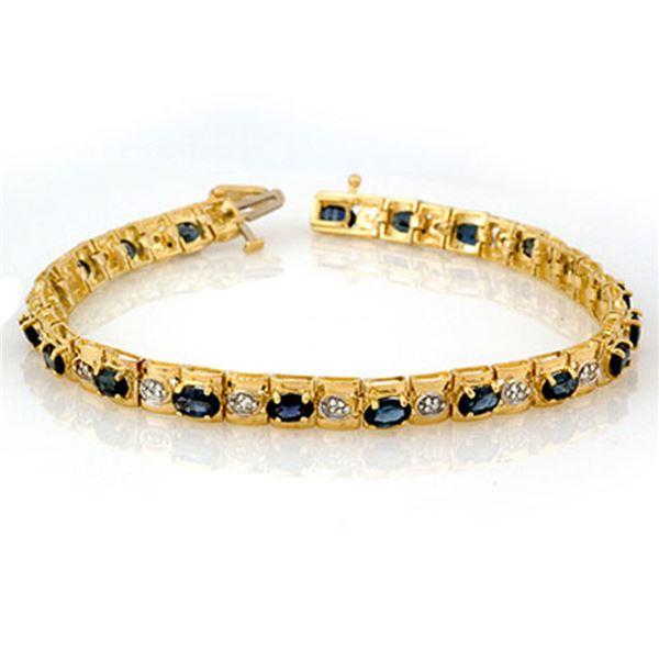 6.09 ctw Blue Sapphire & Diamond Bracelet 10k Yellow Gold - REF-72H8R