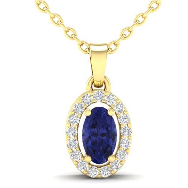 0.36 ctw Tanzanite & Micro Pave VS/SI Diamond Necklace 18k Yellow Gold - REF-23A2N