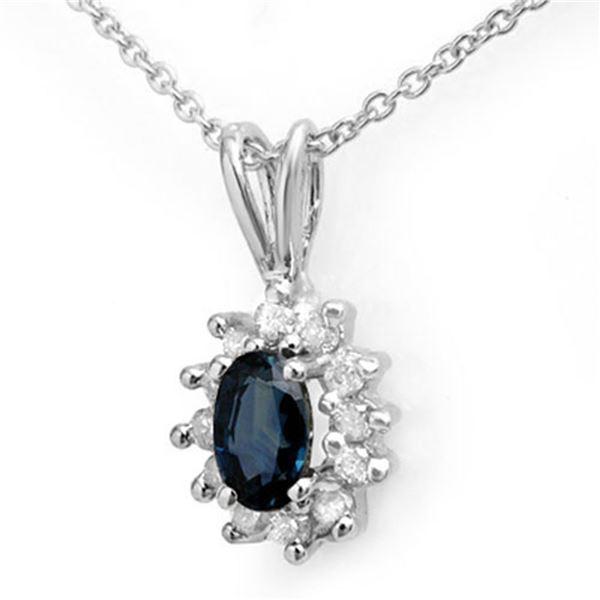 0.51 ctw Blue Sapphire & Diamond Pendant 14k White Gold - REF-12M5G