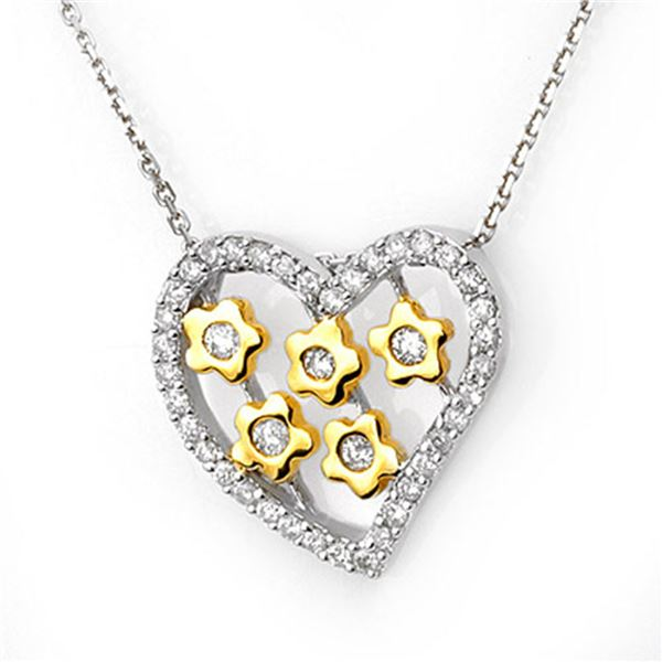 0.45 ctw Certified VS/SI Diamond Necklace 10K 2-Tone 10k 2-Tone Gold - REF-28X5A