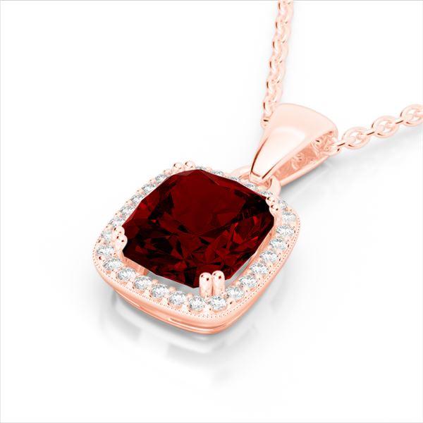 3 ctw Garnet & Micro VS/SI Diamond Pave Halo Necklace 14k Rose Gold - REF-29F2M