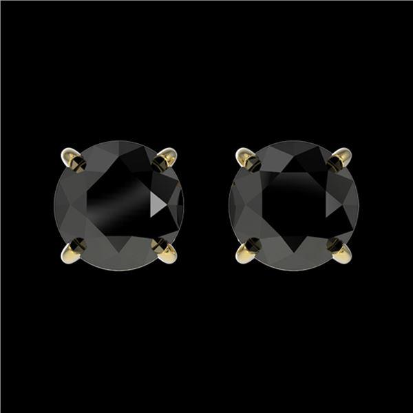 1.11 ctw Fancy Black Diamond Solitaire Stud Earrings 10k Yellow Gold - REF-22M2G
