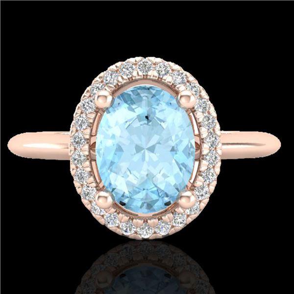 1.50 ctw Aquamarine & Micro VS/SI Diamond Ring Halo 14k Rose Gold - REF-37N3F