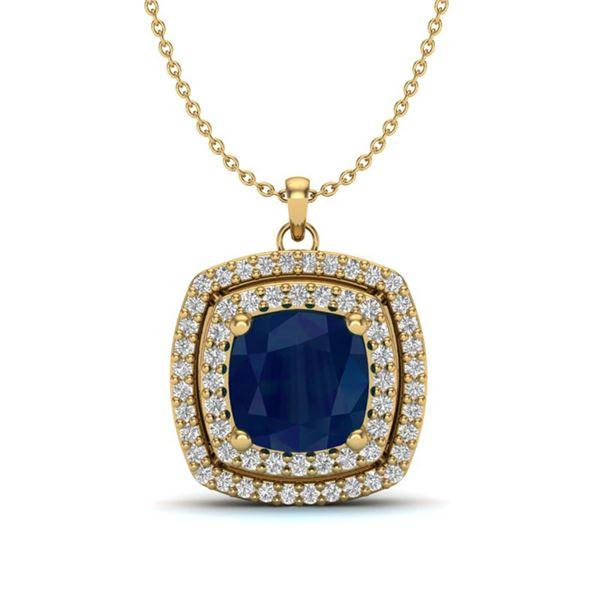 2.52 ctw Sapphire & Micro Pave VS/SI Diamond Necklace 18k Yellow Gold - REF-55Y2X