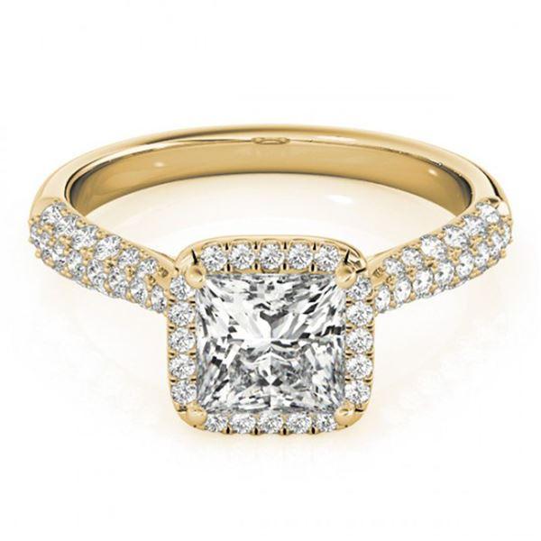 1.15 ctw Certified VS/SI Princess Diamond Halo Ring 18k Yellow Gold - REF-122R8K