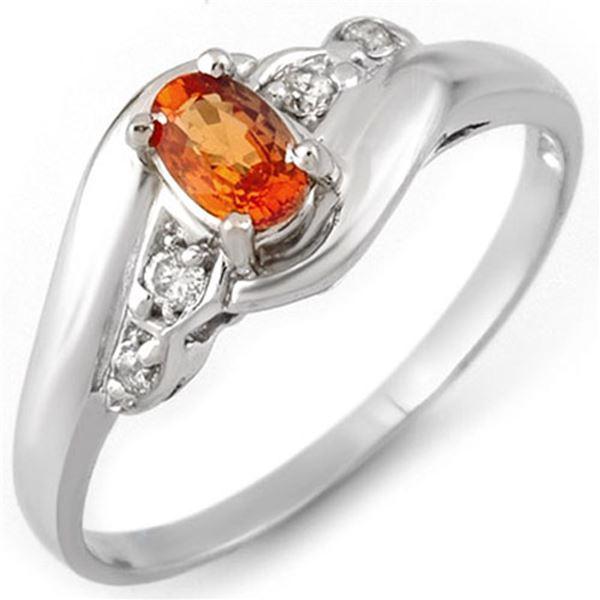 0.42 ctw Orange Sapphire & Diamond Ring 10k White Gold - REF-13G2W