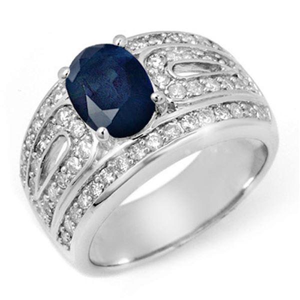 2.44 ctw Blue Sapphire & Diamond Ring 14k White Gold - REF-136Y4X