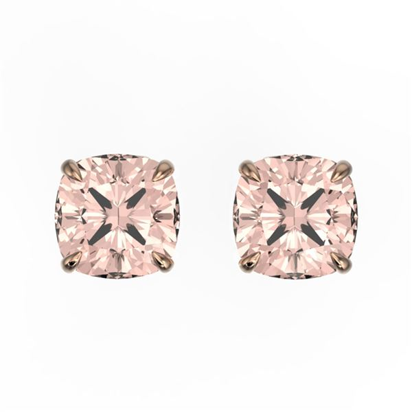 3 ctw Cushion Cut Morganite Stud Earrings 14k Rose Gold - REF-35M3G
